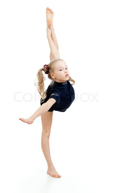 Young Girl Doing Gymnastics Over White Background  Stock -2570