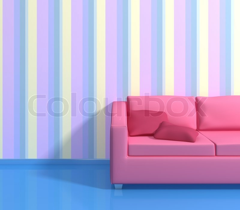 Modern interior composition with a striped wallpapers and pink sofa ...