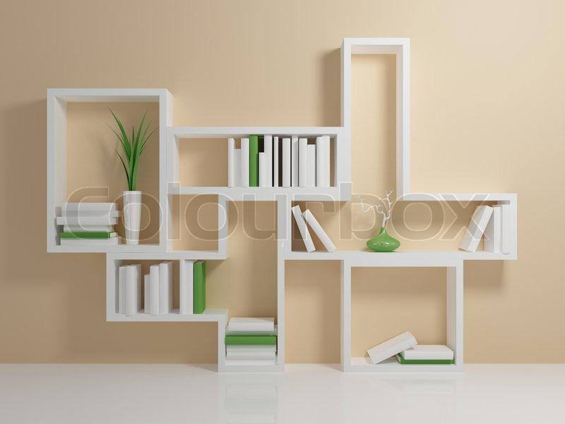 Bücherregal weiß wand  Weiß Bücherregal mit einem weißen und grünen Bücher gegen beige Wand ...