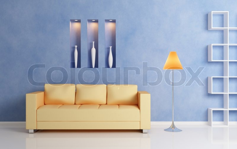 Modern interior compositiom with yellow sofa, white shelf and orange ...