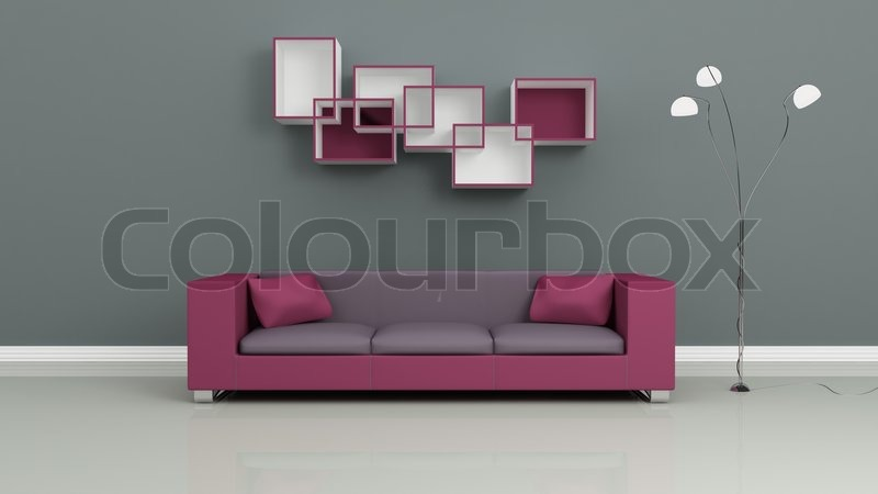 Purple Sofa, Chromed Lamp And Shelves On Grey Wall Modern Interior  Composition, Stock Photo