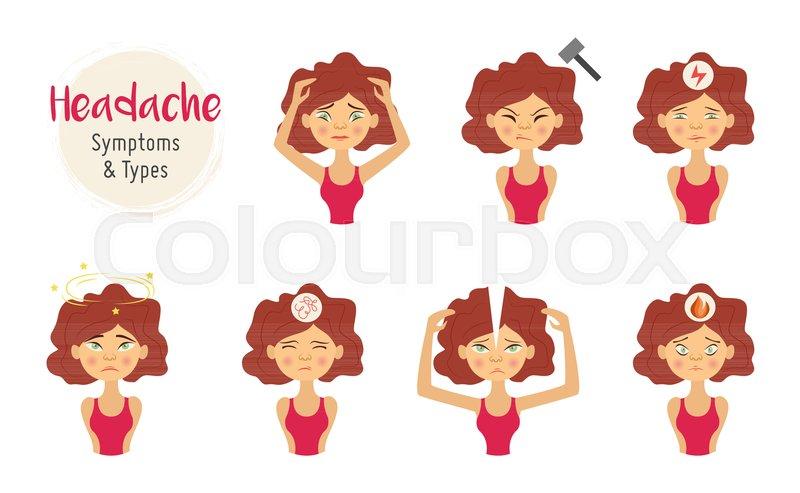 Unhappy Young Woman With Headache Stock Vector Colourbox