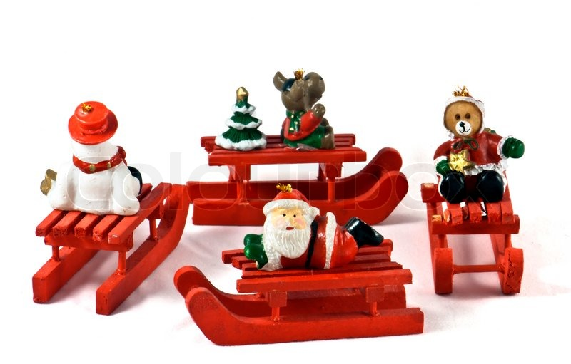 Wooden christmas toys on white background stock photo