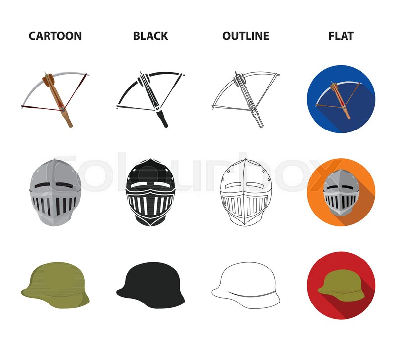 Crossbow, medieval helmet, soldier     | Stock vector