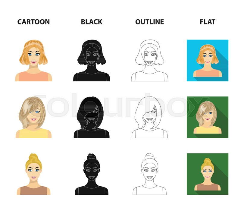 Types Of Female Hairstyles Stock Vector Colourbox
