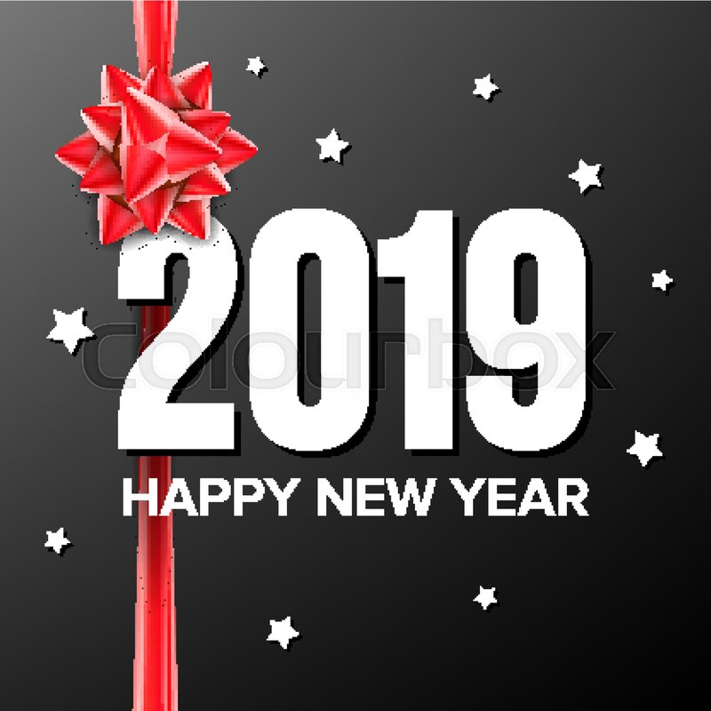 2019 happy new year background vector numbers 2019 bow holiday new year celebration banner card dark illustration vector