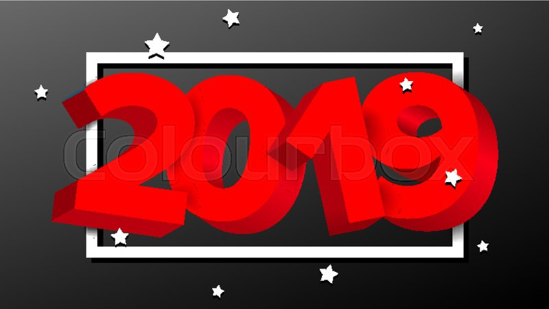2019 red sign vector numbers 2019 holiday new year celebration banner card happy new year background illustration stock vector colourbox