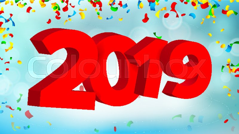 2019 3d sign vector numbers 2019 sign modern christmas brochure seasonal flyer holiday happy new year celebration banner card illustration vector
