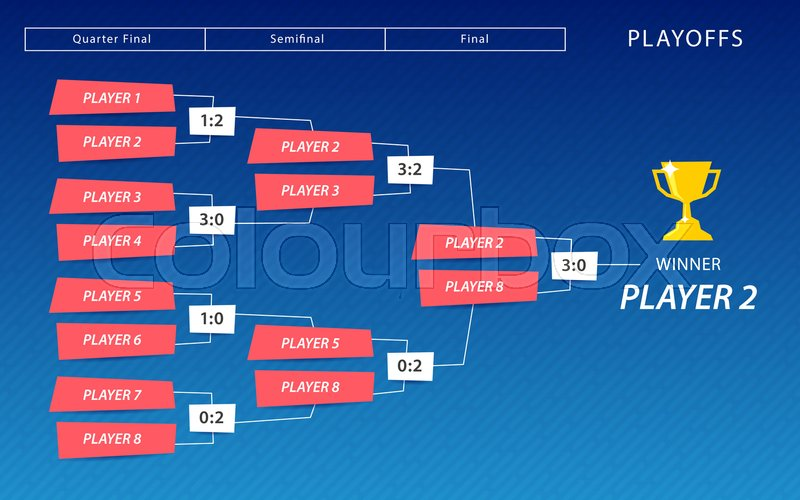 Decoration Of Playoffs Schedule Template On Blue Background