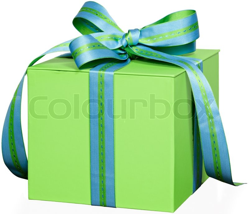 Present In Green Gift Box With Blue & Green Striped