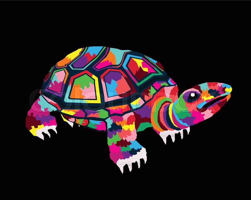 vector illustration design of colorful animal pop art cartoon poster