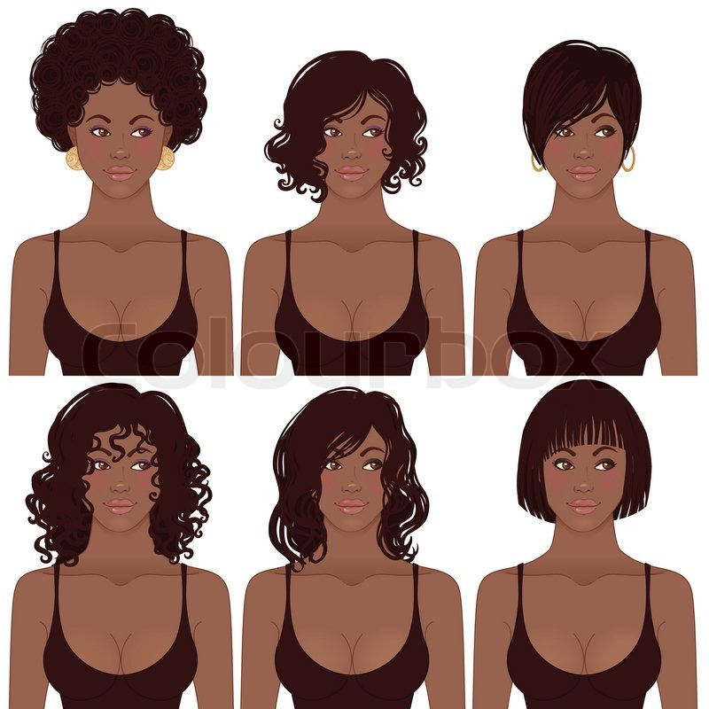 Black Women Faces. Great for avatars, hair styles of African American ...: colourbox.com/vector/black-women-faces-great-for-avatars-hair...