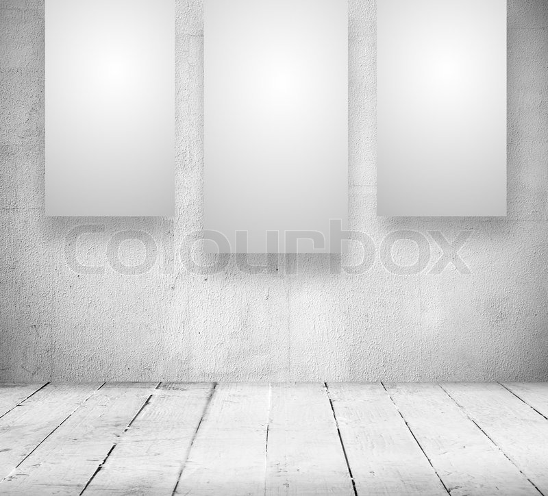Gallery Interior with empty banners in a old white room | Stock ...