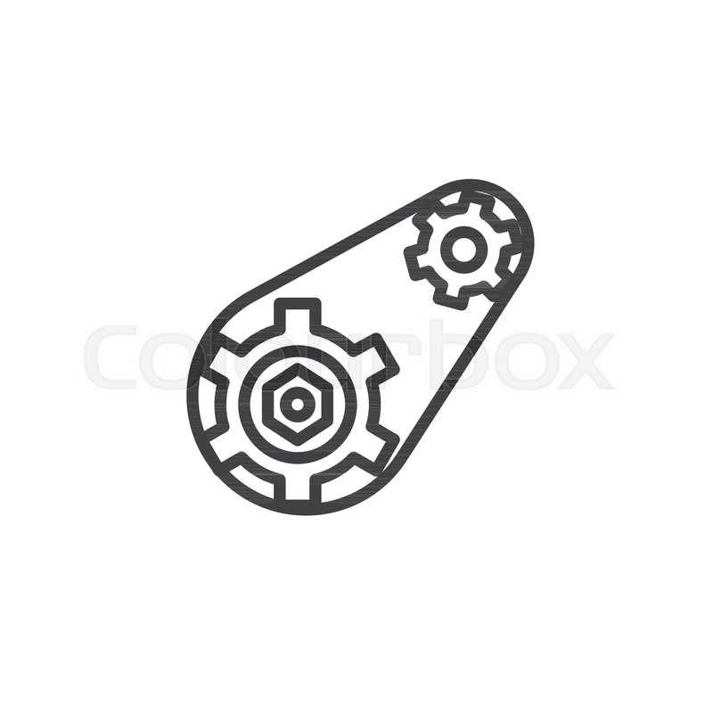 Gears With Belt Outline Icon Linear Style Sign For Mobile Concept