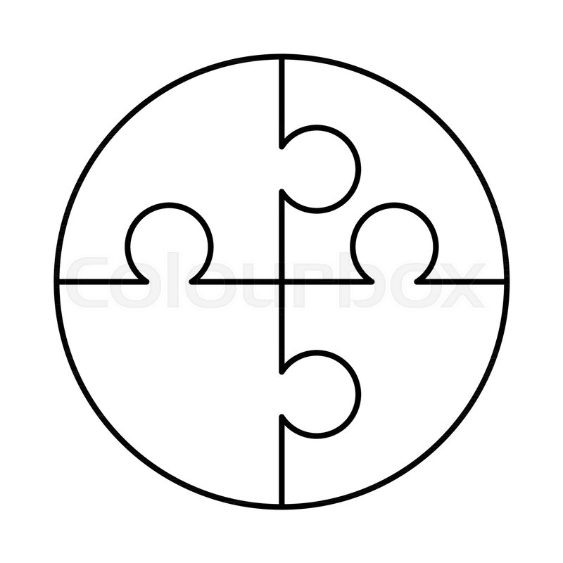 image relating to Printable Puzzle Piece titled 4 white puzzles parts structured inside a  Inventory vector