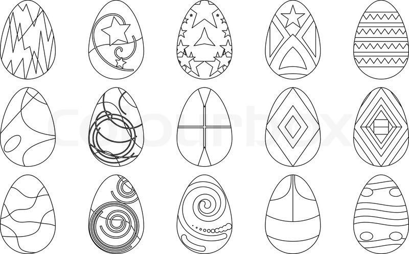 Easter Eggs With Various Patterns Set Contours Vector