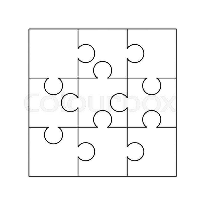 9 white puzzles pieces arranged in a square jigsaw puzzle template