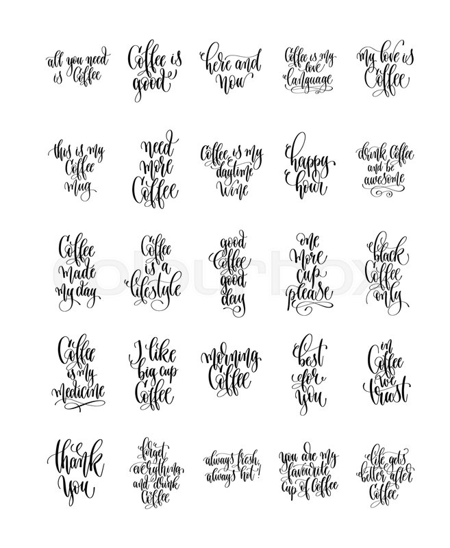 Set Of 25 Hand Lettering Quotes About Stock Vector Colourbox