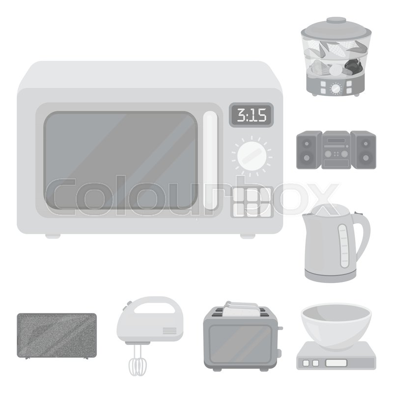 Types of household appliances monochrome icons in set collection for ...