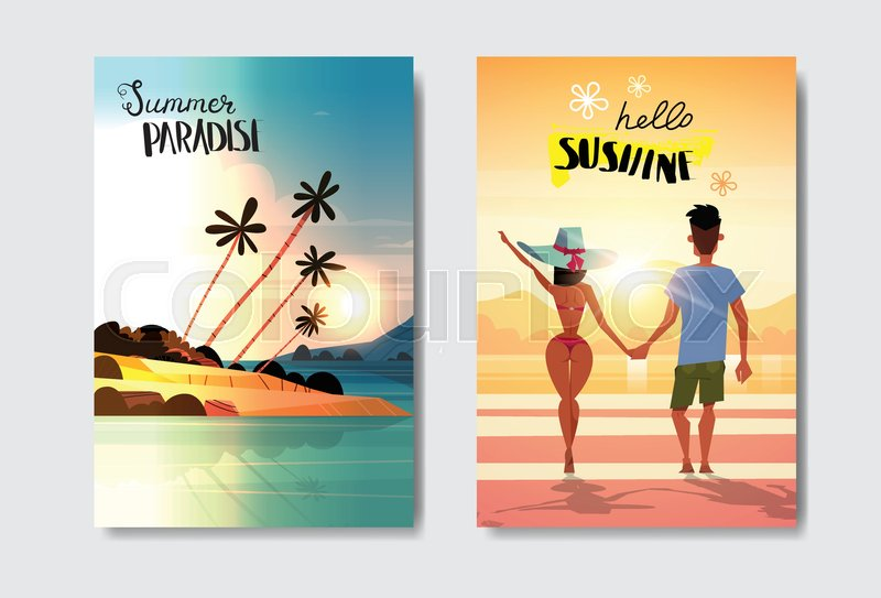 Set Man Woman Couple Holding Hands Looking Sunset Rear View Summer Vacation Tropical Beach Badge Design Label Season Holidays Lettering For Logotemplates