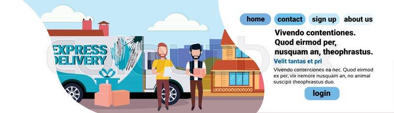 Cargo minivan man courier checklist     | Stock vector | Colourbox