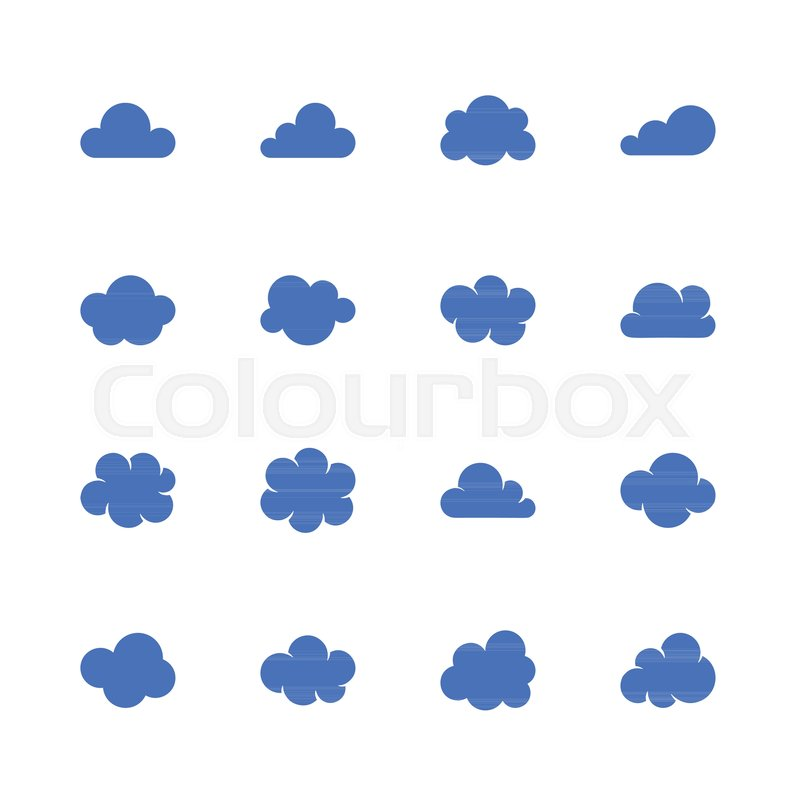 Cloud Flat Glyph Icons Cloudssilhouette Symbols For Data Storage