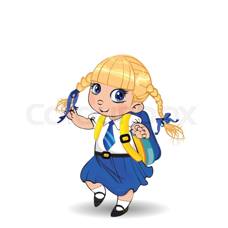 Cute little blonde school girl with ...  e8774b16ff5cd