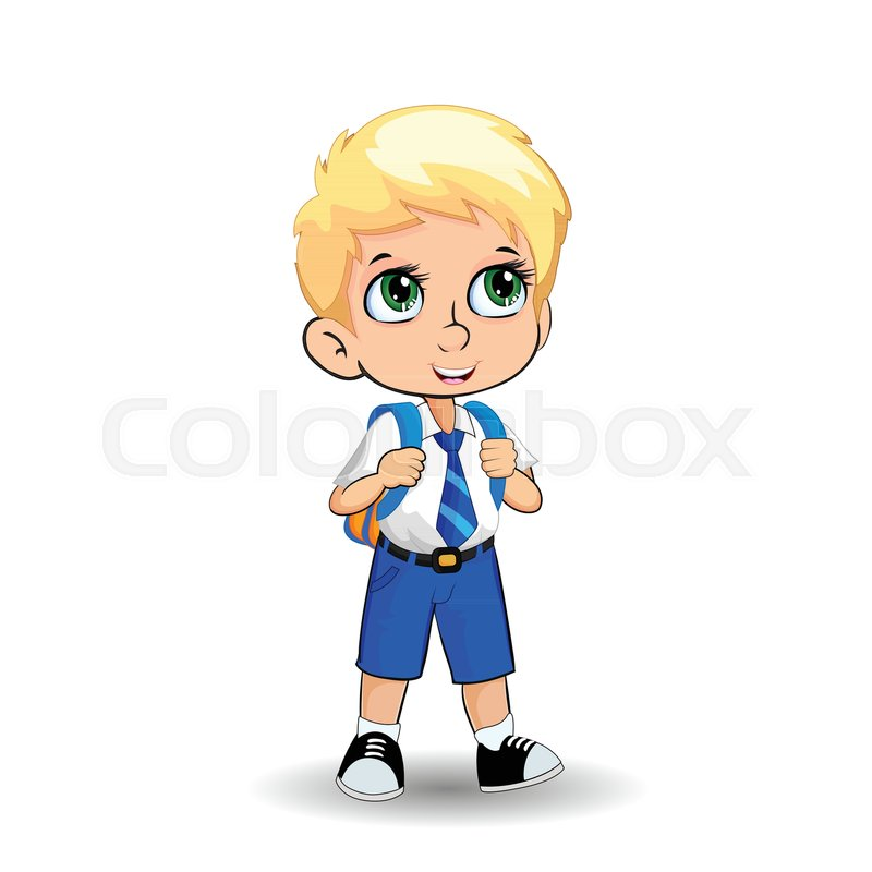 Cute Little Blonde School Boy With Big Stock Vector Colourbox