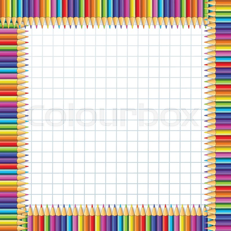 Vector square border frame made of multi colored wooden pencils on ...