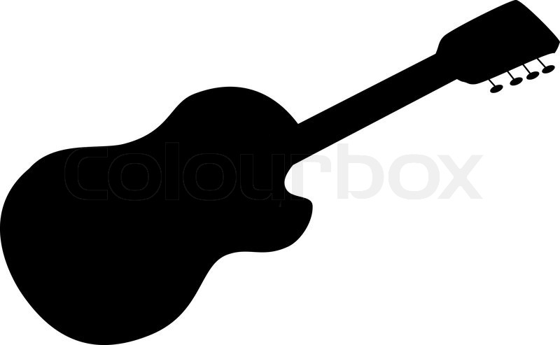 Stock Vector Of Musical Instrument Acoustic Guitar Black Silhouette On White
