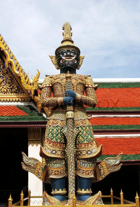 Statue at the Grand Palace in Bangkok, Thailand - travel ...