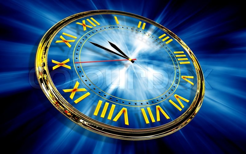 Gold Clock On Abstract Blue Light Background Stock Photo Colourbox