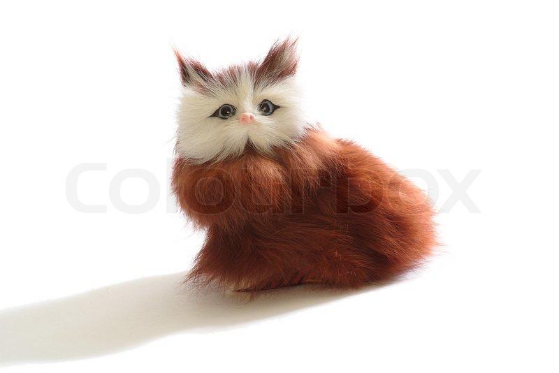 Cute fluffy toy kitten... Fluffy Tuxedo Cat