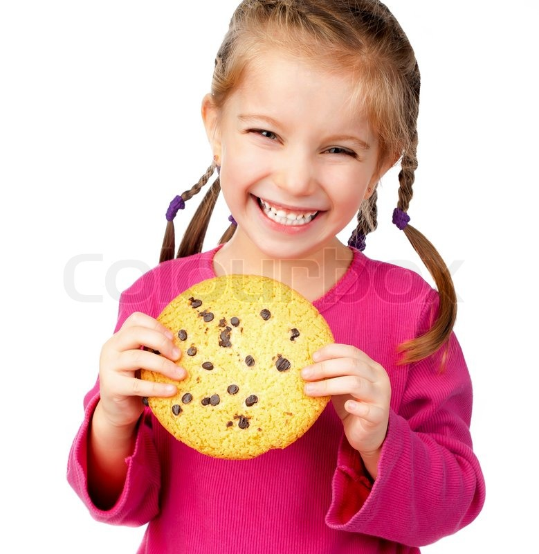 Cheerful Little Girl With Chocolate Chip Cookies Stock