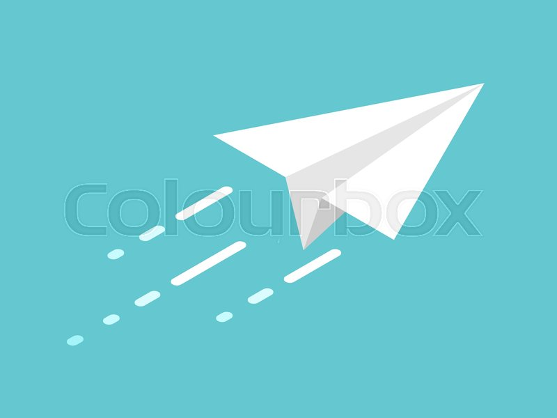 Isometric White Paper Plane Moving On Stock Vector Colourbox
