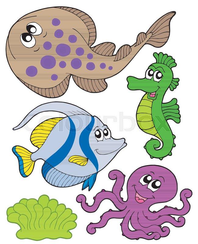 Cute Marine Animals Collection 3 Stock Vector Colourbox