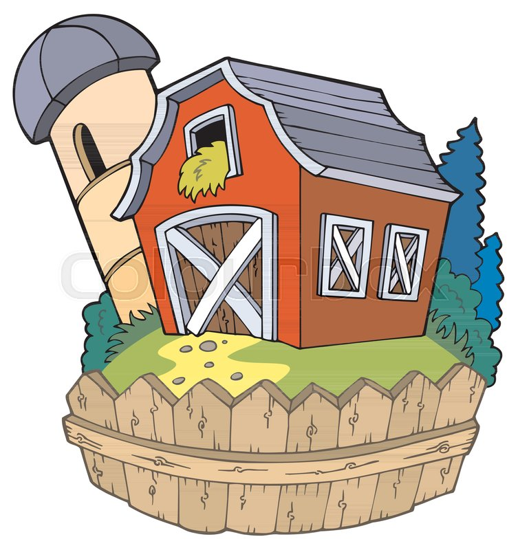 Cartoon Red Barn With Fence Vector Stock Vector