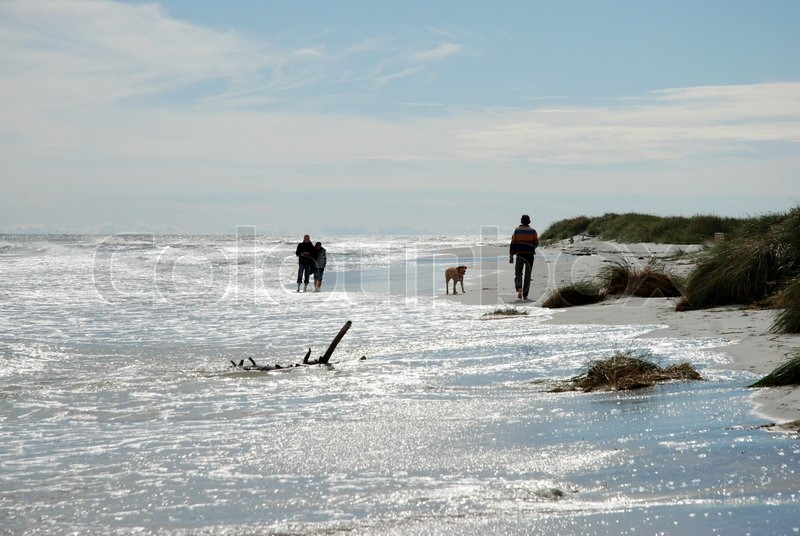 Silvery beach with people walking stock photo colourbox - Impressive house with tranquil environment to get total relaxation ...