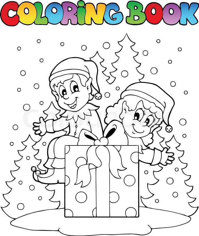 Coloring book Christmas elf theme 2 - vector illustration. | Stock ...