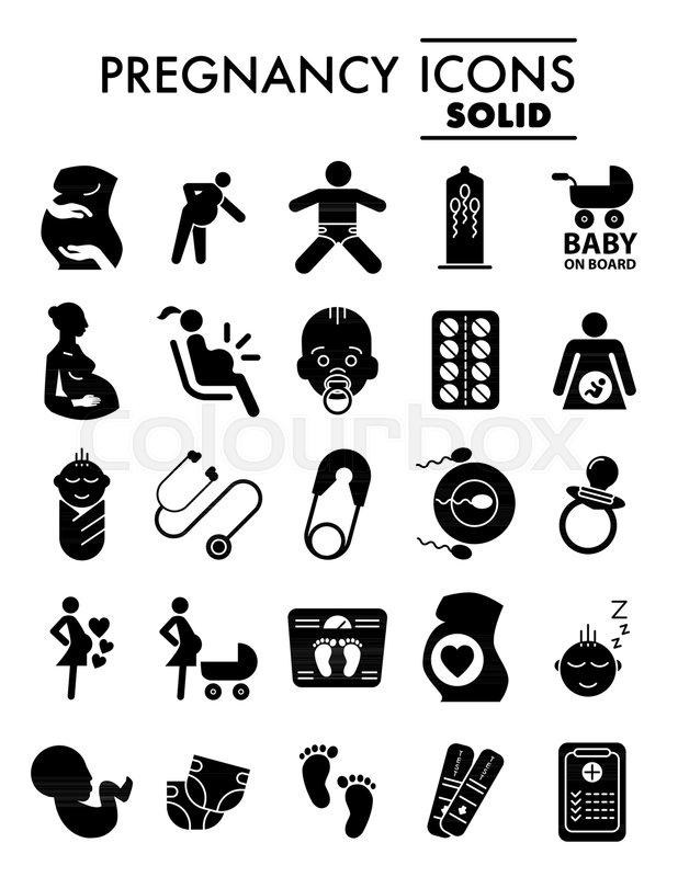 Pregnancy Glyph Icon Set Motherhood Symbols Collection Vector