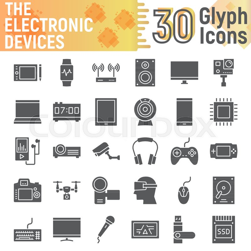 Electronic Devices Glyph Icon Set Media Symbols Collection Vector