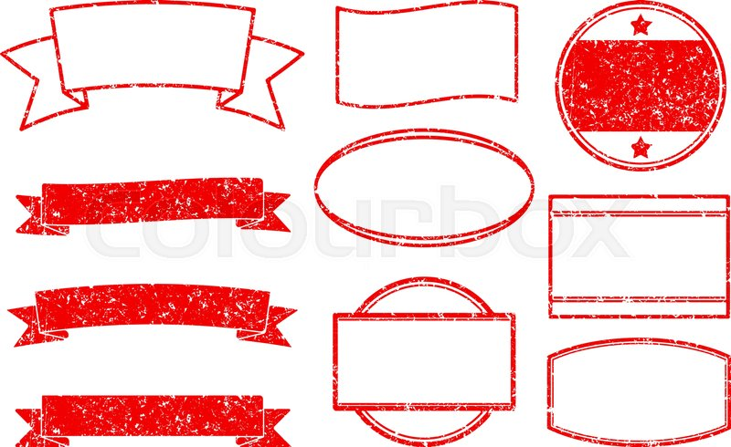 big set of red grunge templates for round rubber stamps and ribbon