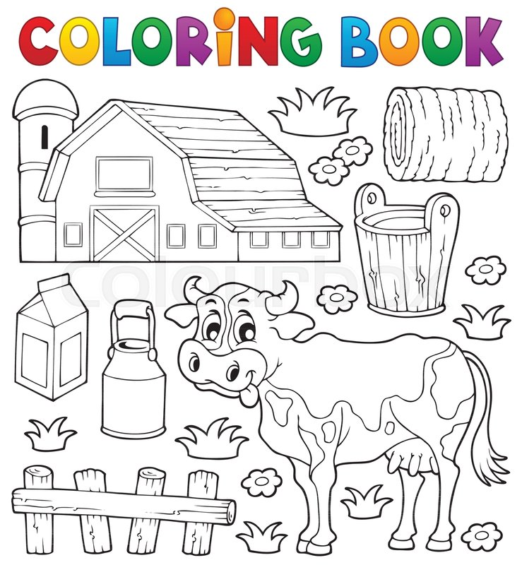 Coloring book cow theme 1 - eps10 vector illustration. | Stock ...