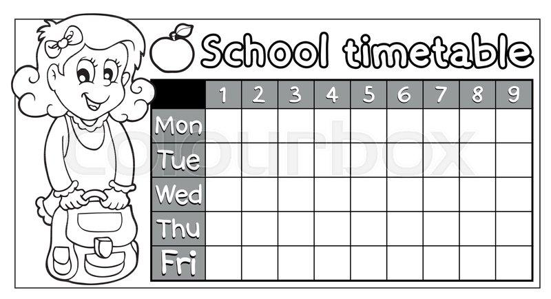 Coloring book school timetable 8 -       Stock vector