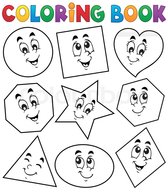 Coloring book various shapes 1 - eps10 vector illustration. | Stock ...