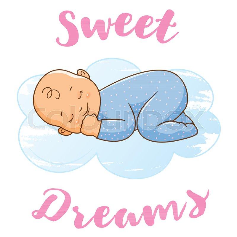 Happy Baby Sleeping On The Blue Cloud Cartoon Stylesignfor