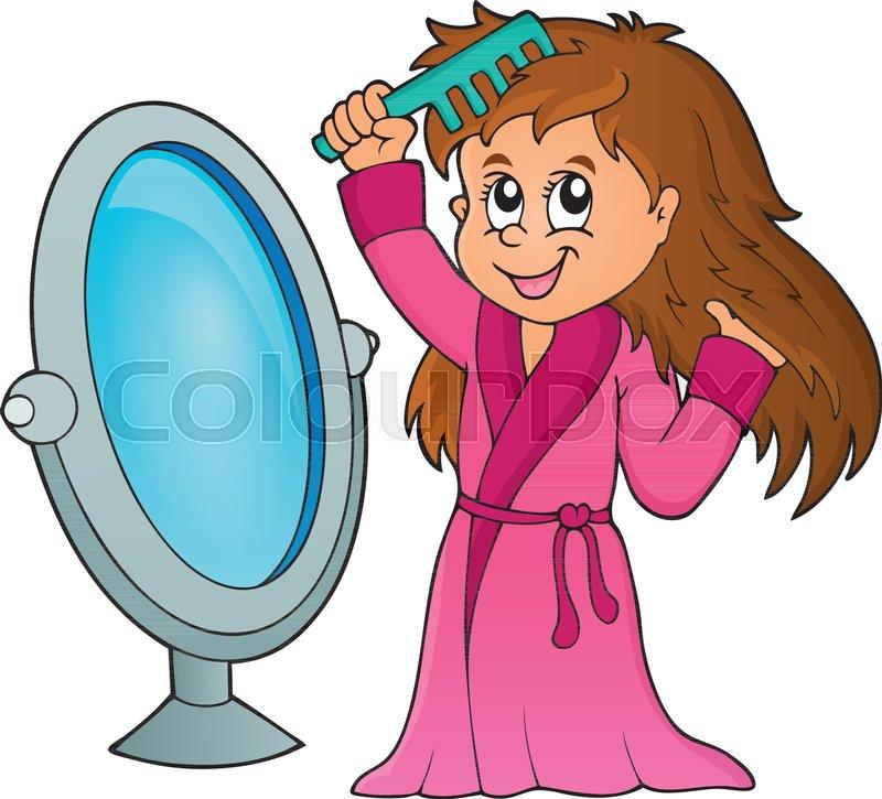 Girl Combing Hair Theme 1 Eps10 Stock Vector Colourbox