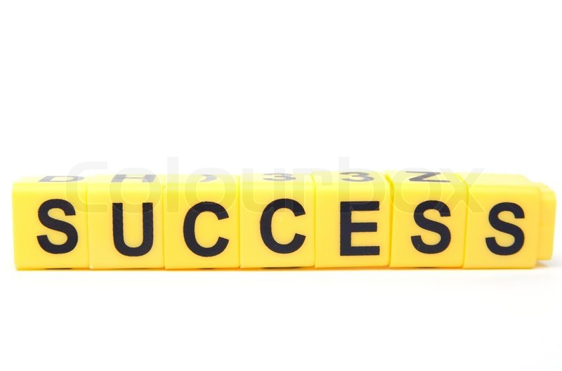 An image of yellow blocks with word ''success'' on them ... The Word Succeed