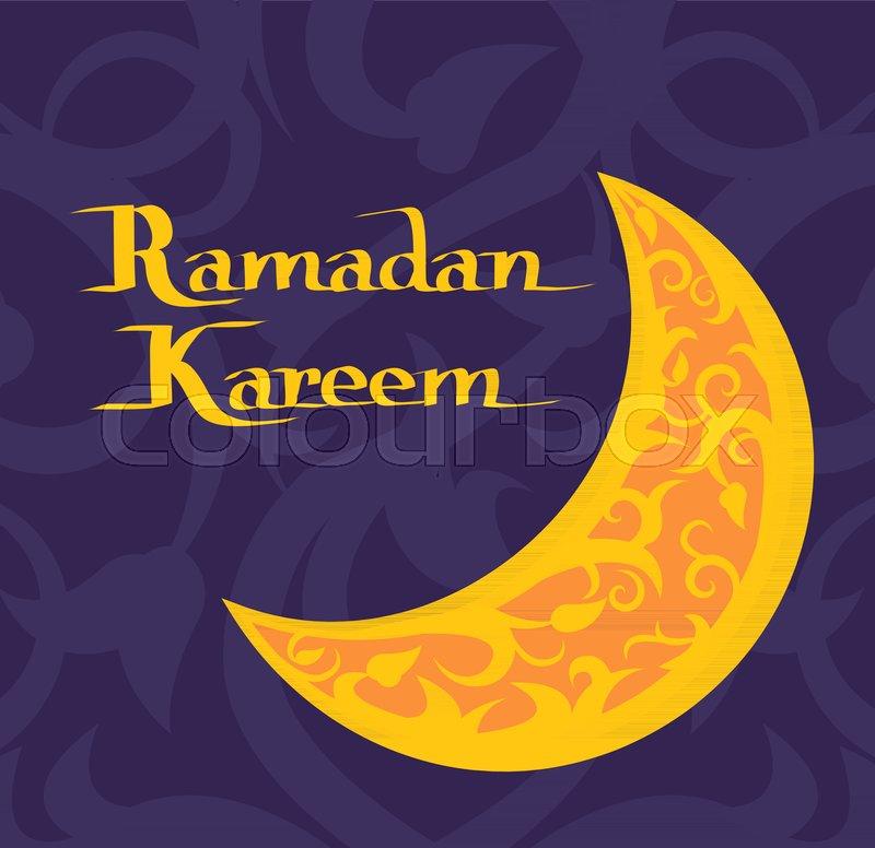 Ramadan Kareem Poster With Crescent Muslim Prayers Symbol And Text