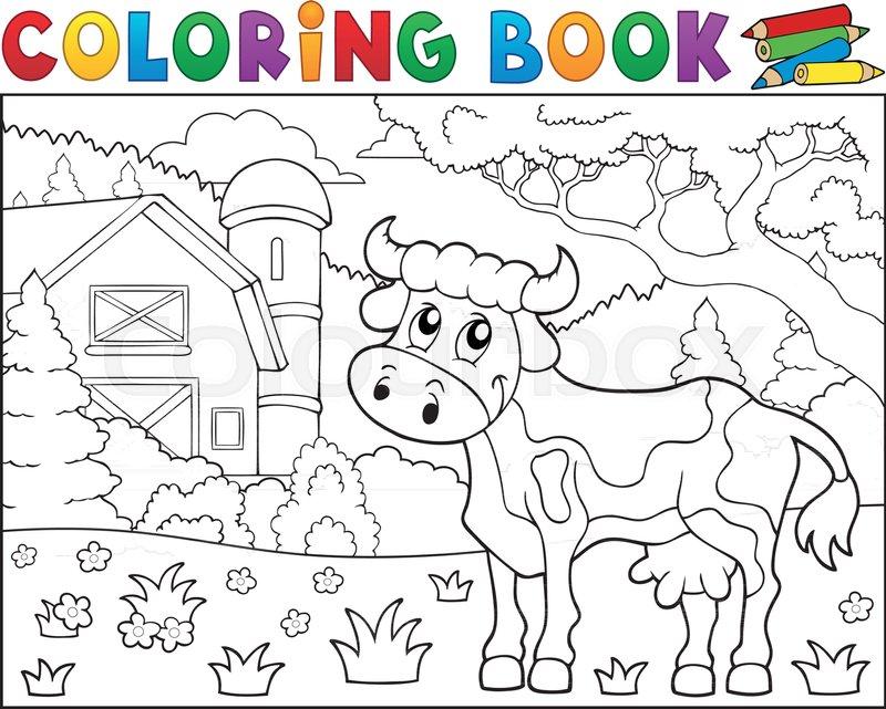 Coloring book cow near farm theme 1 - eps10 vector illustration ...